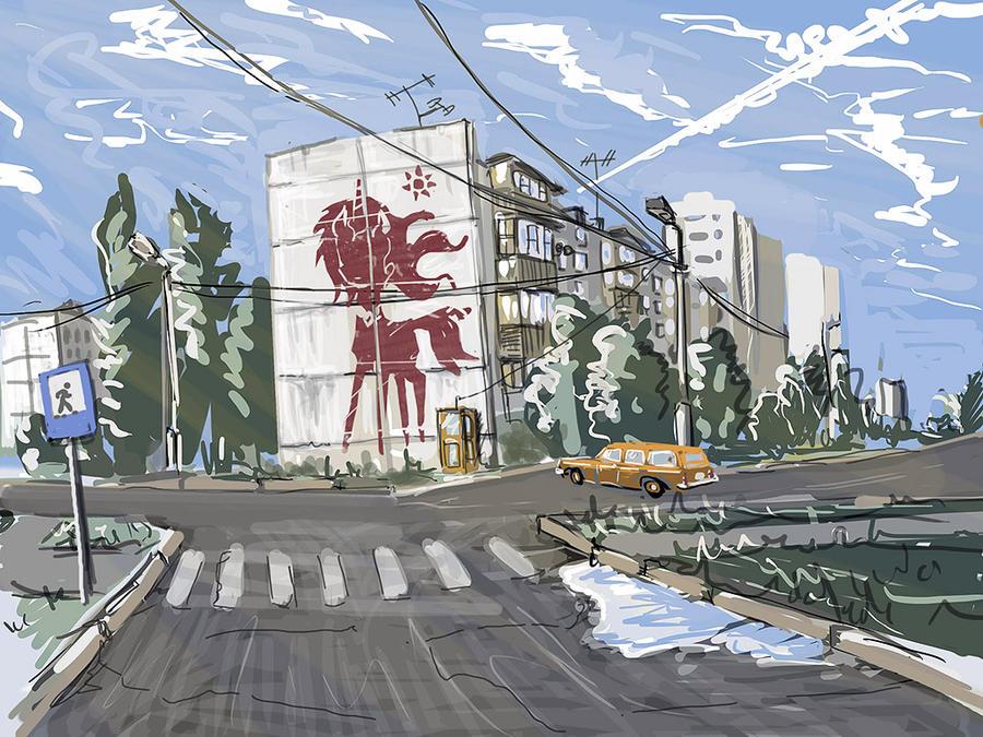 Soviet Equestrian street art by Ulyanovetz