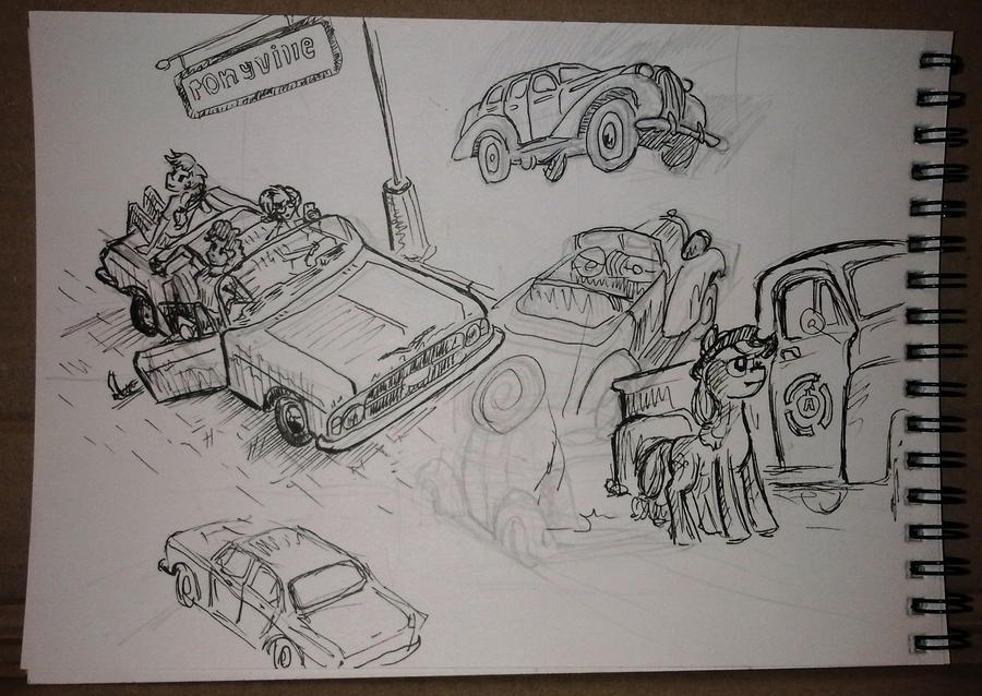 Mlp and cars sketchdump by Ulyanovetz