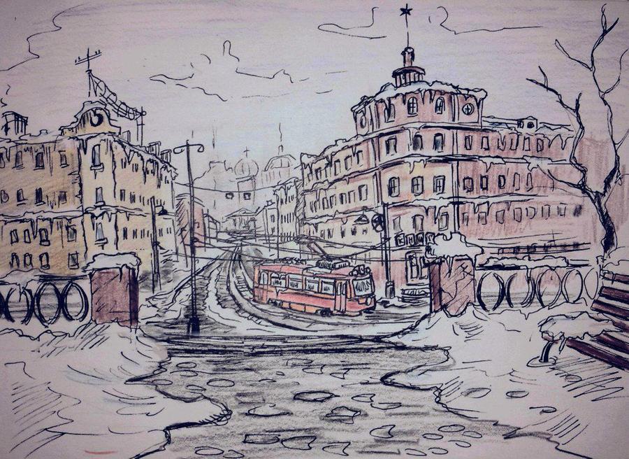Winter, tram and city by Ulyanovetz