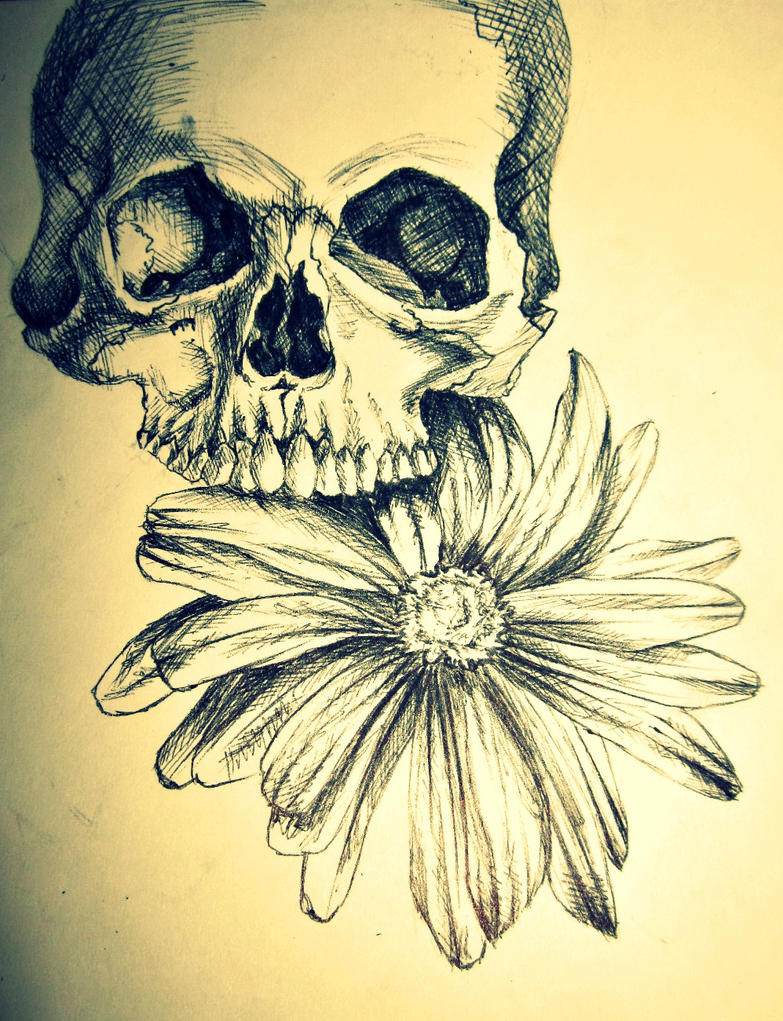 Pen Skull Flower Pt1 by OlkaBolka1123 on DeviantArt