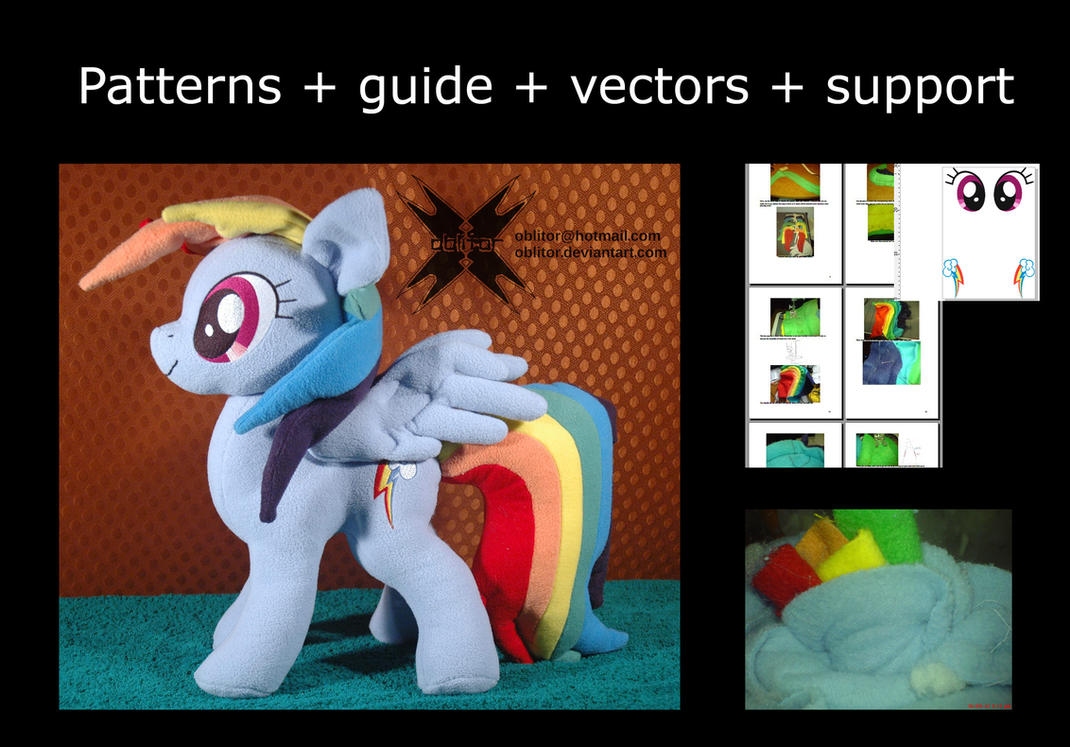 Movable head, wings Dashie pattern, tutorial, vect by Oblitor