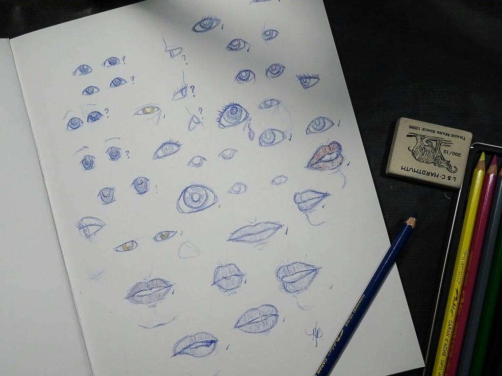 Sketchbook eyes and lips by mcjstudio