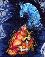 Fire meets ice..Moon meets Sun by Vkyla