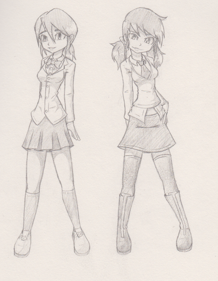 Schoolgirls insomnia sketch by G4MM43T4