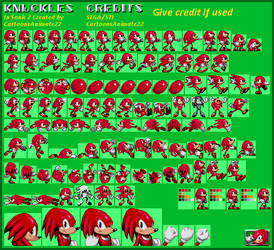 Knuckles Sonic 2 Style Sprite Sheet