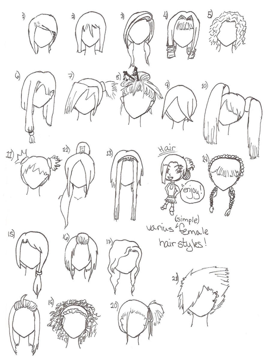 Hairstyles Drawing Easy : How To Draw Hairstyles Simple hairstyles by