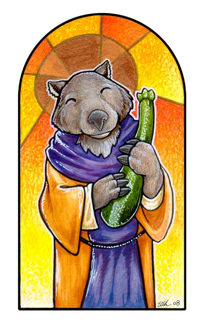 St. Wombus and the Zucchini by ursulav