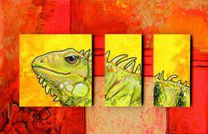 Iguana Triptych by ursulav