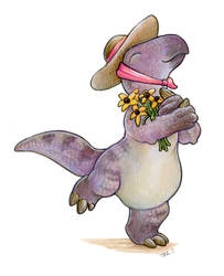 Iguanodon Gardener by ursulav