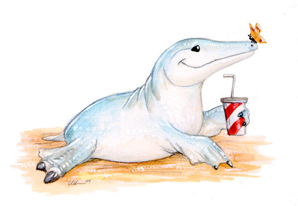 Ambulocetus Goes To The Beach by ursulav