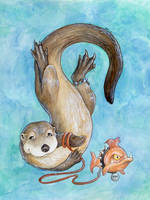 Otter and Spike by ursulav