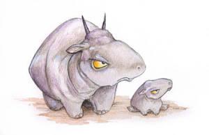 Snoggox and Calf by ursulav