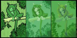 Three Green Tree Kangaroos
