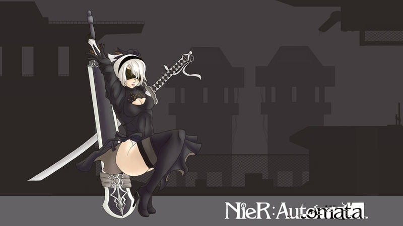 Nier Automata Fan Art Wallpaper 01 1920x1080: Nier:Automata 2B Wallpaper By AgileArtist On DeviantArt