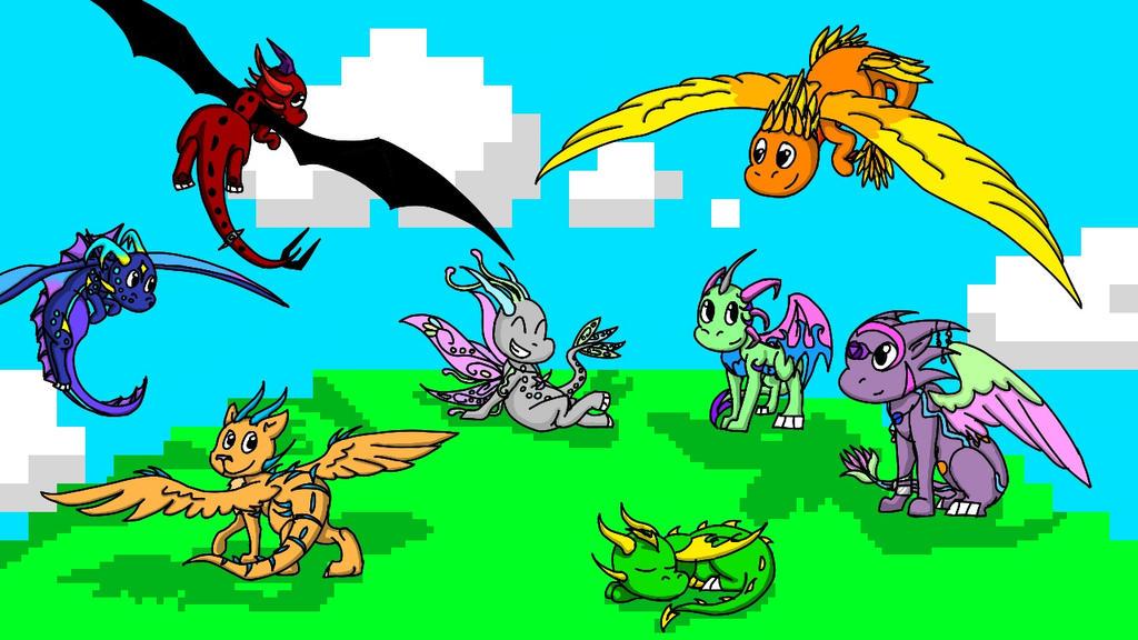 Chibi dragons! by ghostdragoness16