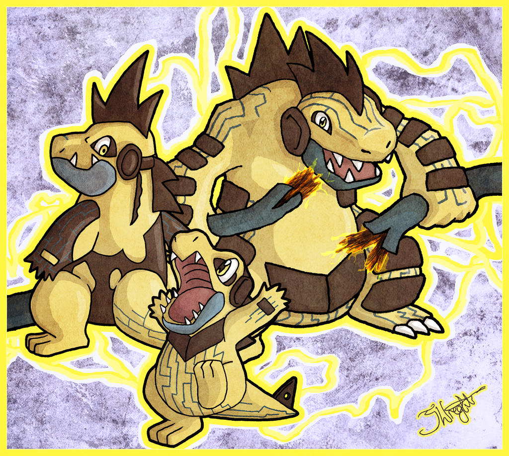 Totodile Croconaw and Feraligatr by haha-tommy