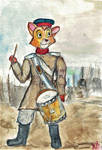 Oliver as the Young Military drummer