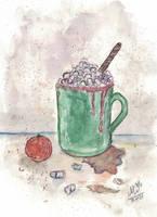 The green mug with marshmallows
