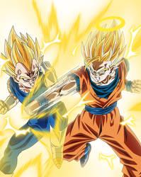 Majin Vegeta vs SSJ 2 Goku
