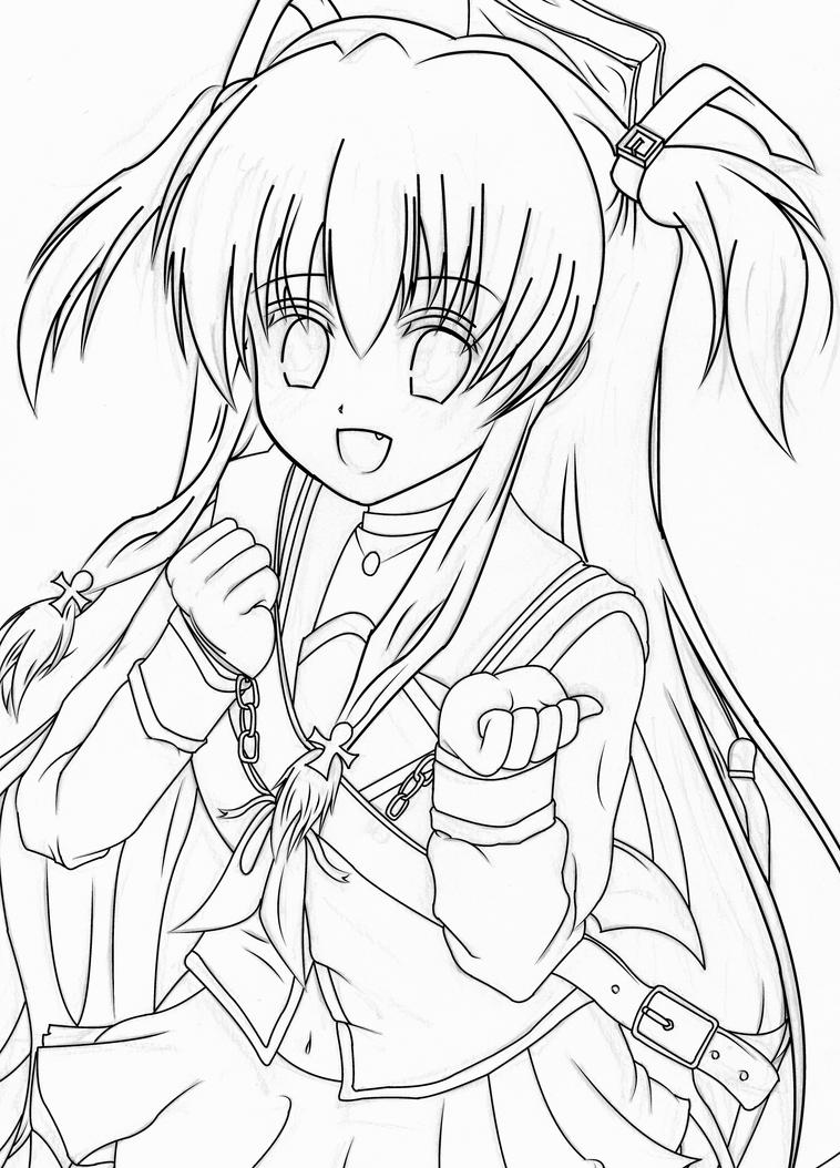 Line Art Digital : Yui angel beats digital line art by stesto on deviantart