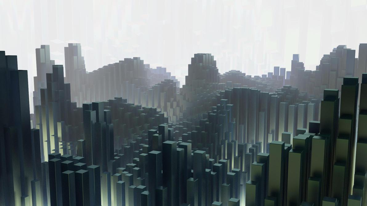 Cube City Abstract By Capn Damo