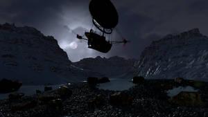 RRS Investigator - Night over the glacier