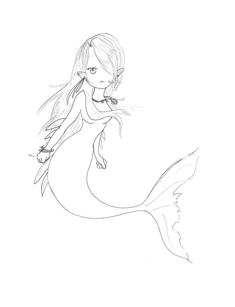 anime mermaid coloring pages - chibi mermaid sketch by ladybaron on deviantart