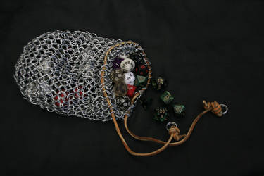 Chainmail Dice Bag w/ Tan Leather Tie by tBLAIRs