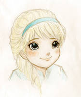 Smiling Little Elsa (colored) by TheRookieCookie