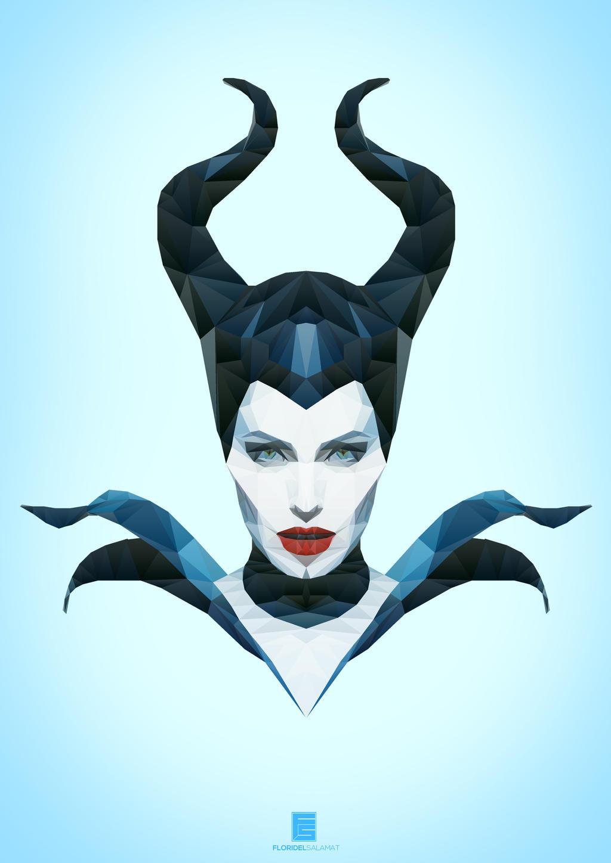 Maleficent low poly art by floridelsalamat watch fan art digital art