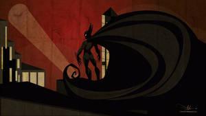 Batman Retro Illustration Wallpaper full HD by kinchinjohn