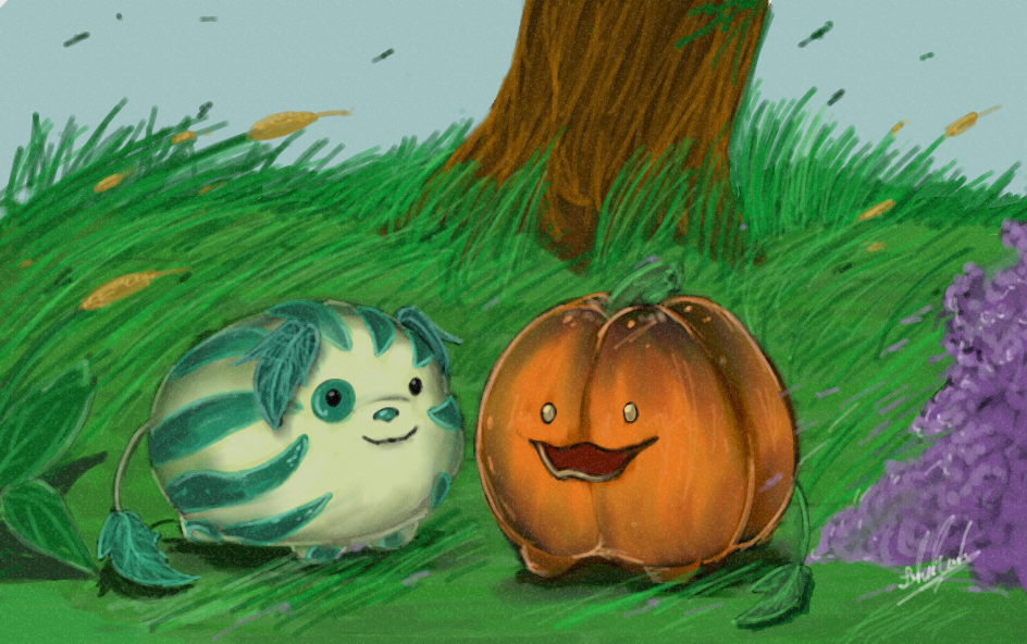 Steven Universe - Pumpkin and Watermelon Dog by YamiriAshKyu