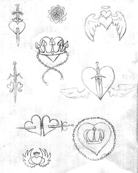 Heart-Crown-Knife Tattoo Sktch