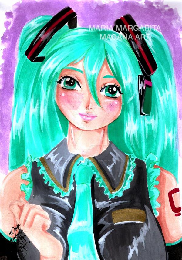 Miku Hatsune water colors by selene-nightmare69