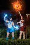 Sailor Mars and Sailor Mercury cosplay
