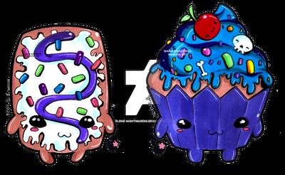 Pop tart and cupcake kawaii by selene-nightmare69