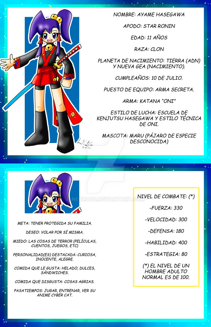 Star Ronin: Ficha de Ayame 2020