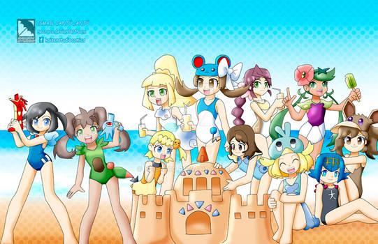 Comision: Chicas pokemon en playa 2020