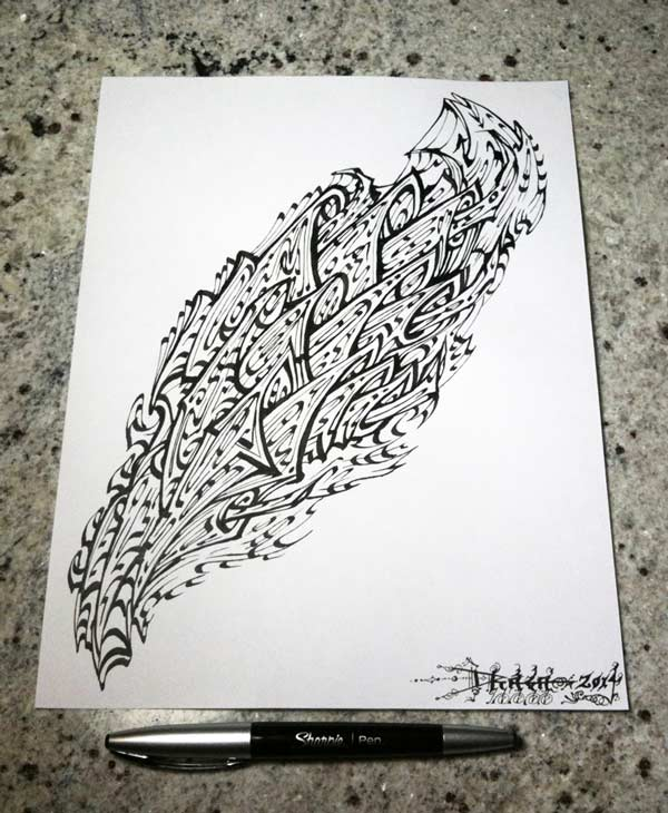 Sharpie and calligraphy pen on paper by tribalogy on Sharpie calligraphy pen