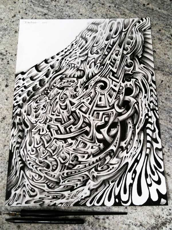 Calligraphy pen and graphite on paper. by Tribalogy