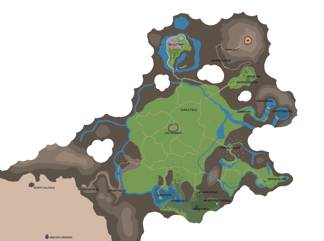 Rare Beta Map Of Oot Overworld Sans The Cloud Coverage Among