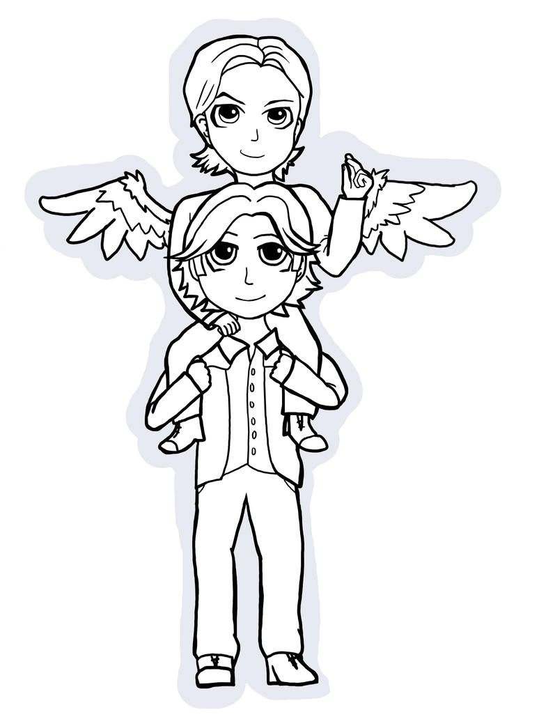 Sabriel Chibis! lineart~ by Blacknight4711