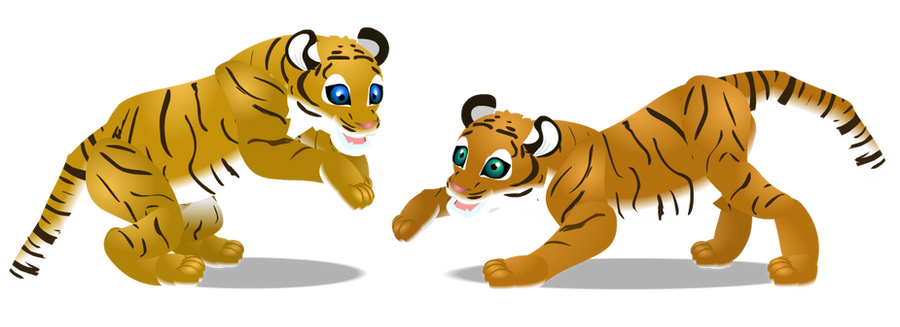 Bengal tiger cubs by PurpleRat-YS