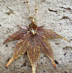 GoldCopper Dried leaf necklace