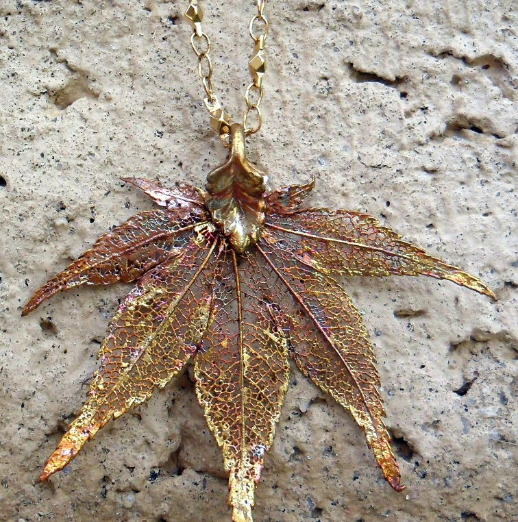 GoldCopper Dried leaf necklace by enchantedfantasies