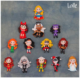 Fimo Marvel and DC Girls by LolleBijoux