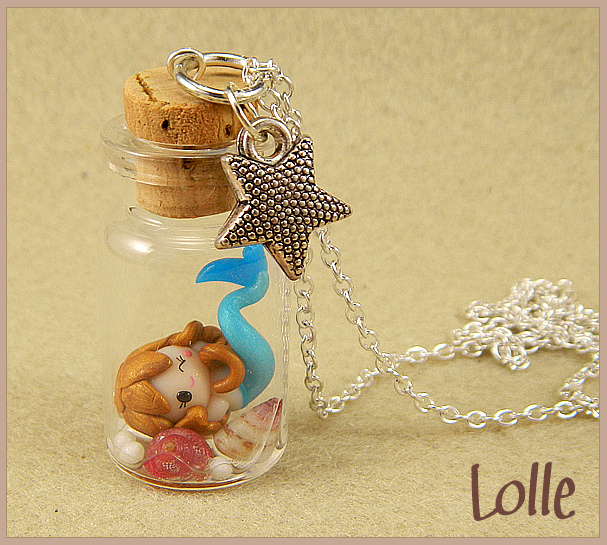 Fimo Siren in a bottle by LolleBijoux