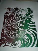 Koi Silkscreen Print by kempfen