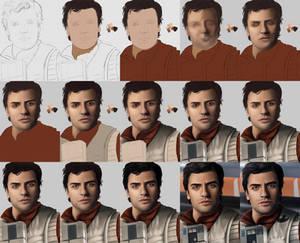Poe Dameron - Portrait WIPS