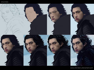 Kylo Ren - Digital Painting WIP steps